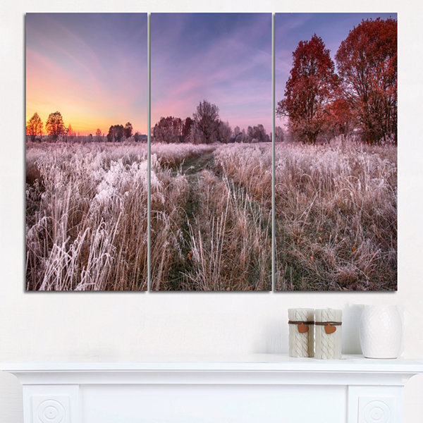 Designart Frosty Fall Trees With Red Leaves Landscape Print Wall Artwork