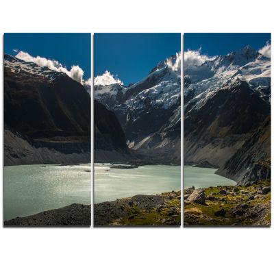Designart Frosty Mountains Over Blue Lake Landscape Triptych Canvas Art Print