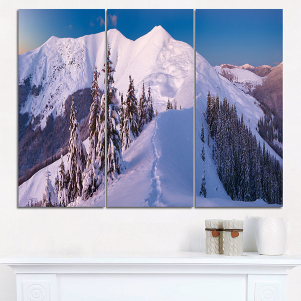 Designart Frosty Winter Carpathians View LandscapeTriptych Canvas Art Print