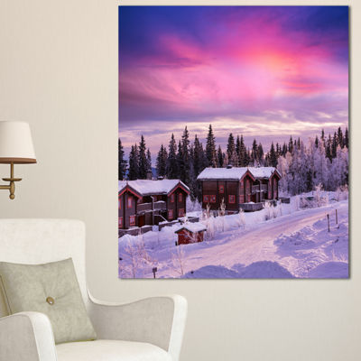 Designart Frosty Winter Resorts In Forest Landscape Wall Art On Canvas