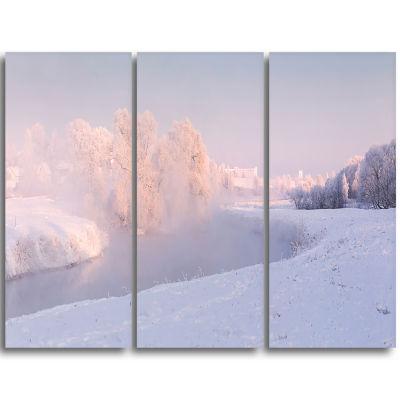 Designart Frosty Winter Sunshine Panorama Landscape Print Wall Artwork