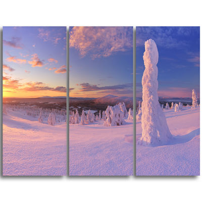 Designart Frozen Trees On Mountain Panorama Landscape Triptych Canvas Art Print