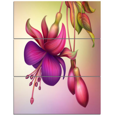 Designart Fuchsia Flowers With Green Leaves LargeFloral Wall Art Triptych Canvas