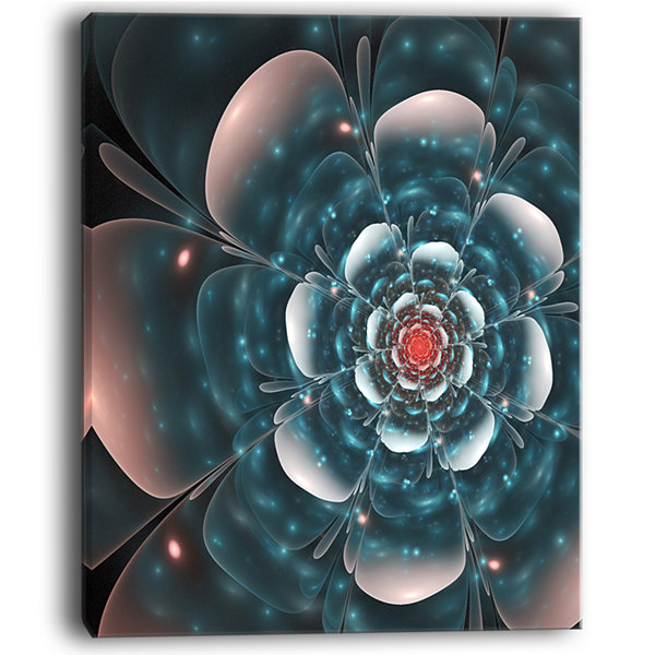 Designart Full Bloom Blue Fractal Flower Floral Canvas Art Print