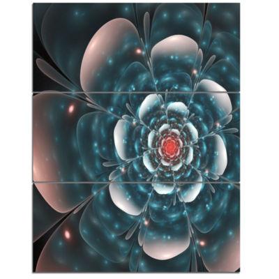 Designart Full Bloom Blue Fractal Flower Floral Triptych Canvas Art Print