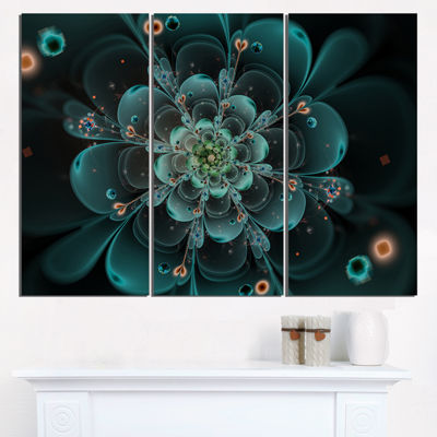 Designart Full Bloom Fractal Flower In Blue LargeFlower Triptych Canvas Wall Art