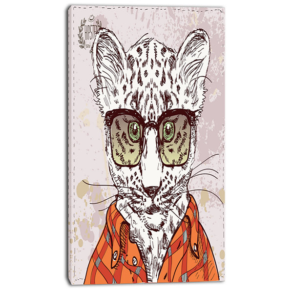 Designart Funny Hipster Leopard With Glasses Animal Canvas Art Print