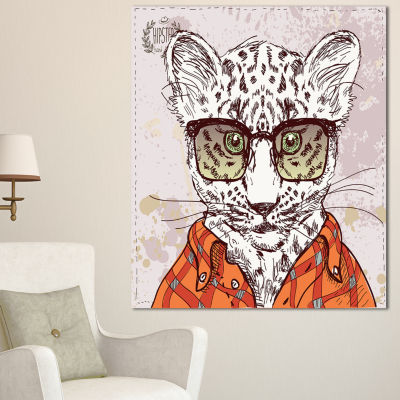 Designart Funny Hipster Leopard With Glasses Animal Canvas Art Print - 3 Panels