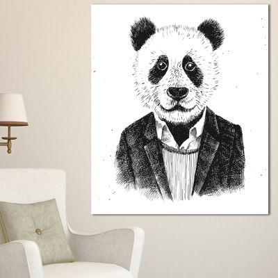 Designart Funny Hipster Panda Black White AnimalCanvas Art Print - 3 Panels