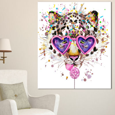 Design Art Funny Leopard With Heart Glasses Oversized Animal Wall Art - 3 Panels