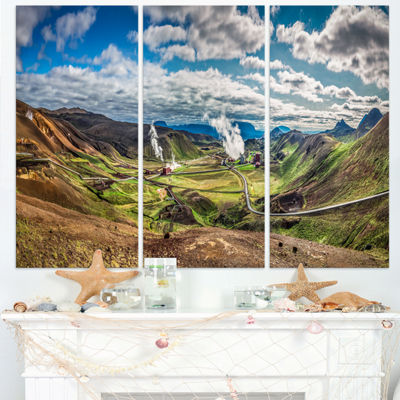 Designart Geothermal Power Station Panorama ExtraLarge Seashore Triptych Canvas Art
