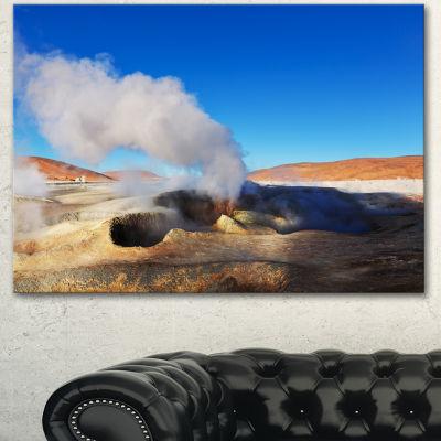 Designart Geyser Sol De Manana Bolivia Extra LargeLandscape Canvas Art