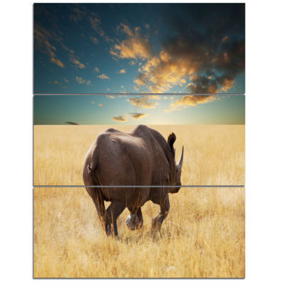 Designart Giant Rhino Under Cloudy Sky Extra LargeAfrican Canvas Art Print - 3 Panels