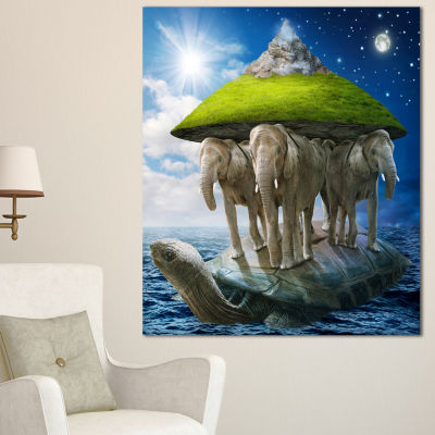 Designart Giant Turtle Carrying Elephants AbstractCanvas Art Print - 3 Panels