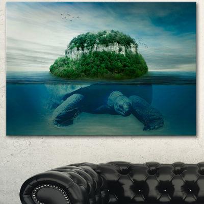 Designart Giant Turtle Carrying Island OversizedAbstract Canvas Art - 3 Panels