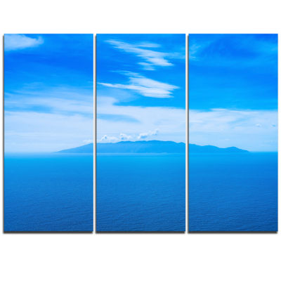 Designart Giglio Island Aerial View From Argentario Extra Large Seashore Triptych Canvas Art