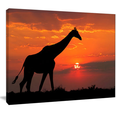 Designart Giraffe Silhouette At Sunset African Canvas Art Print