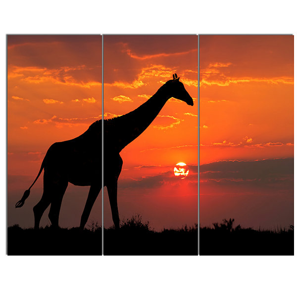 Designart Giraffe Silhouette At Sunset African Canvas Art Print - 3 Panels