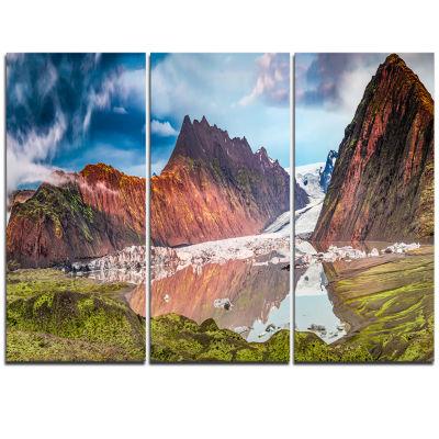 Designart Glacier And Lake At Sunrise Panorama Extra Large Seashore Triptych Canvas Art