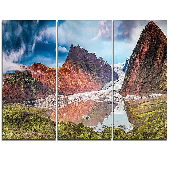 Designart Glacier And Lake At Sunrise Panorama Extra Large Seashore Triptych Canvas Art