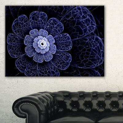 Designart Glittering Bright Blue Fractal Flower Floral Canvas Art Print