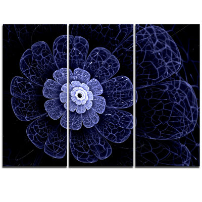 Designart Glittering Bright Blue Fractal Flower Floral Triptych Canvas Art Print