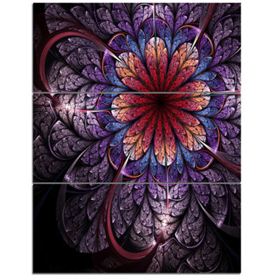 Designart Glittering Bright Colorful Fractal Flower Floral Triptych Canvas Art Print