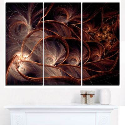 Designart Glittering Brown Fractal Flower On BlackFloral Triptych Canvas Art Print