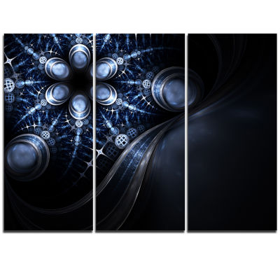 Designart Glittering Curvy Stylish Fractal FlowerFloral Triptych Canvas Art Print