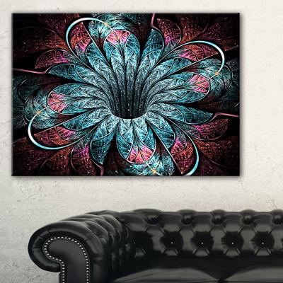 Designart Glittering Dark Fractal Flower DigitalArt Floral Canvas Art Print
