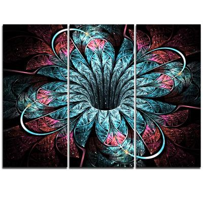 Designart Glittering Dark Fractal Flower DigitalArt Floral Triptych Canvas Art Print