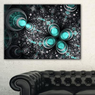 Design Art Glittering Dark Green Fractal Flower Floral Canvas Art Print