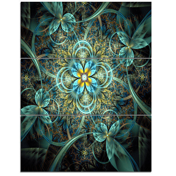 Designart Glittering Dark Orange Fractal Flower Floral Triptych Canvas Art Print