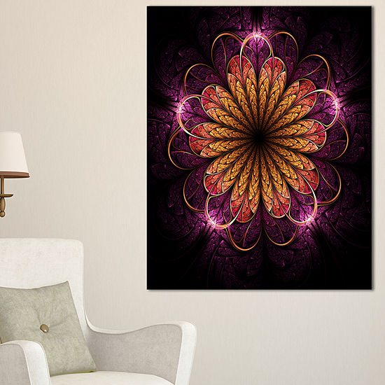 Designart Glittering Gold Purple Fractal Flower Floral Canvas Art Print
