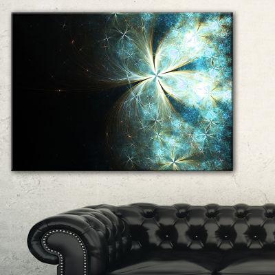Designart Glittering Gold Blue Fractal Flower Floral Canvas Art Print