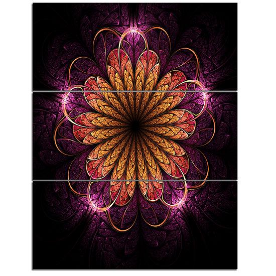 Designart Glittering Gold Purple Fractal Flower Floral Triptych Canvas Art Print