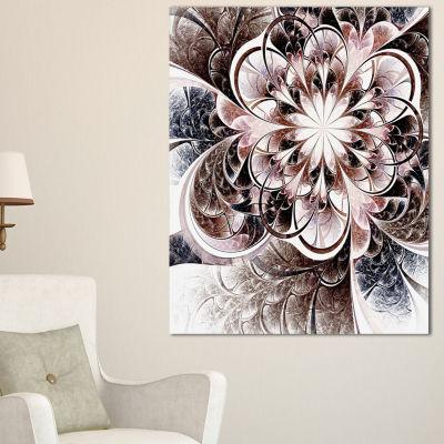 Designart Glittering Light Blue Fractal Flower Floral Canvas Art Print