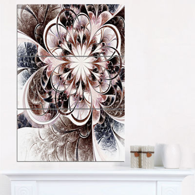 Designart Glittering Light Blue Fractal Flower Floral Triptych Canvas Art Print