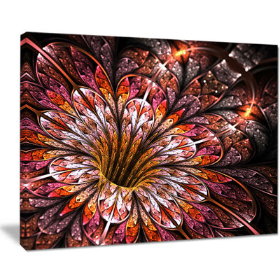 Designart Glittering Light Red Fractal Flower Floral Canvas Art Print