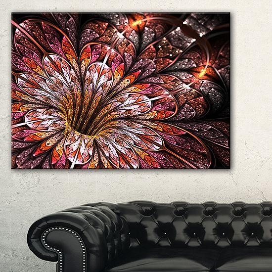 Designart Glittering Light Red Fractal Flower Floral Canvas Art Print