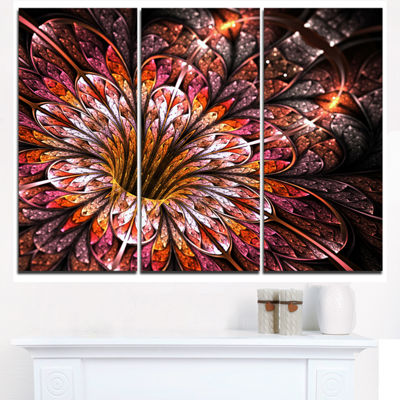 Designart Glittering Light Red Fractal Flower Floral Triptych Canvas Art Print