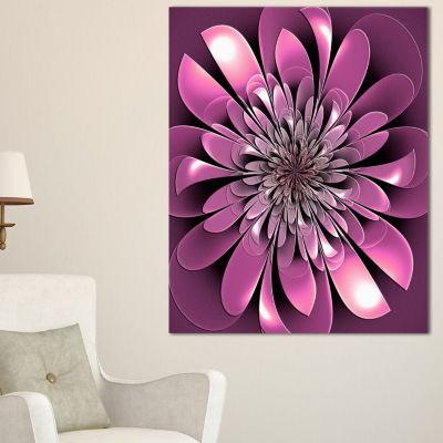 Designart Glittering Lush Purple Fractal Flower Floral Canvas Art Print