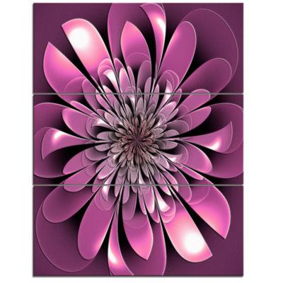 Designart Glittering Lush Purple Fractal Flower Floral Triptych Canvas Art Print