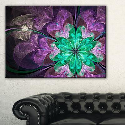 Designart Glittering Purple Green Fractal FlowerFloral Canvas Art Print