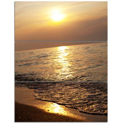 Designart Gloomy Beach And Waters At Sunset ModernBeach Triptych Canvas Art Print