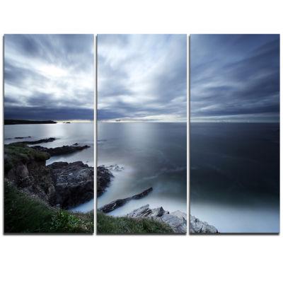 Designart Gloomy Bluish Atlantic Beach Portugal Seascape Triptych Canvas Art Print
