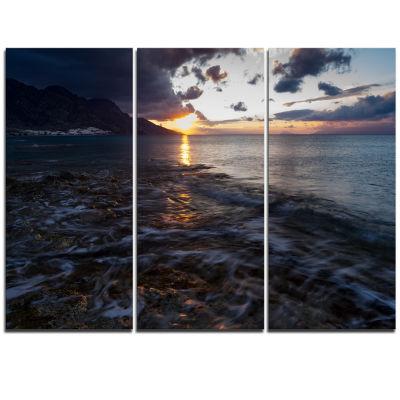 Designart Gloomy Sea Coast At Sunrise Modern Seashore Triptych Canvas Art
