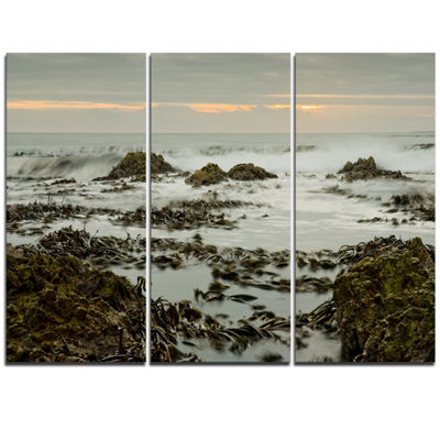 Designart Gloomy Sunset Over Rocks And Waves Seascape Triptych Canvas Art Print