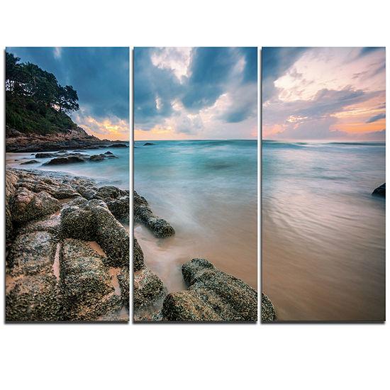 Designart Gloomy Tropical Sunset Beach Extra LargeSeascape Art Triptych Canvas