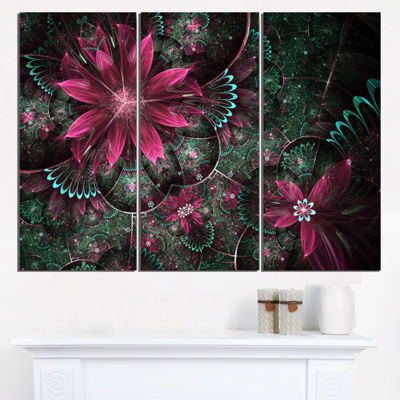 Designart Glossy Green And Red Fractal Flowers Large Floral Wall Art Triptych Canvas
